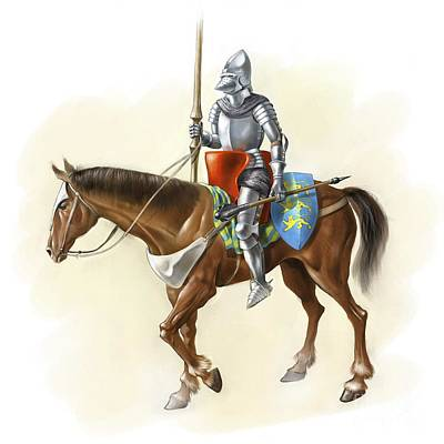 Medieval Knight On Horseback, Artwork Poster by Jose Antonio Pe??as