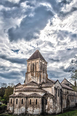 Medieval Monastery Under Swirling Clouds Poster by Nila Newsom