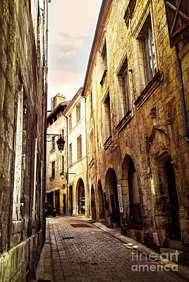 Medieval Street In Perigueux Poster by Elena Elisseeva