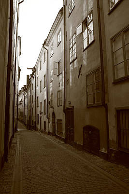 Medieval Street In Stockholm - Monochrome Poster by Ulrich Kunst And Bettina Scheidulin