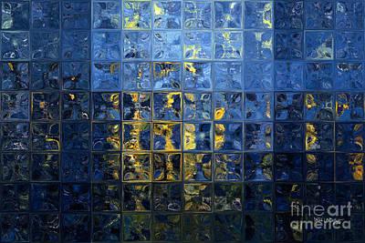 Mediterranean Blue. Modern Mosaic Tile Art Painting Poster
