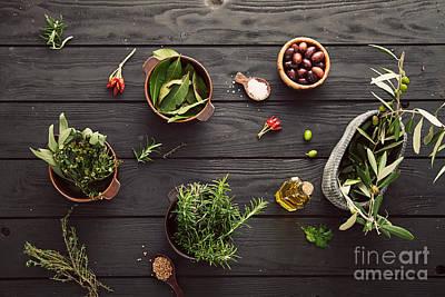Mediterranean Ingredients Poster by Mythja  Photography
