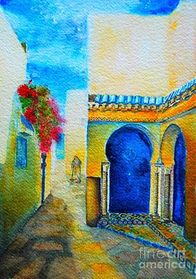 Poster featuring the painting Mediterranean Medina by Ana Maria Edulescu