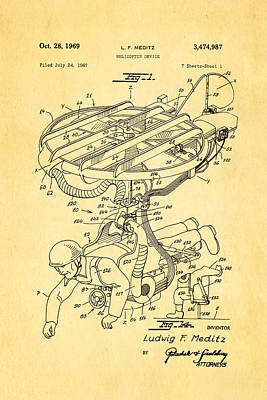 Meditz Helicopter Device Patent Art 1969 Poster