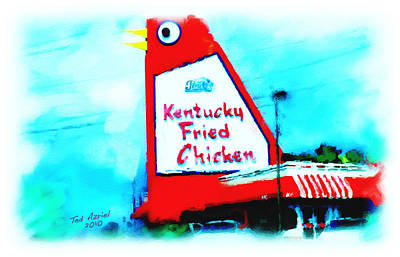 Poster featuring the painting Meet Me At The Big Chicken by Ted Azriel