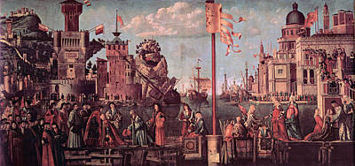 Meeting Of The Betrothed Couple And The Departure Of The   Pilgrims Poster by Vittore Carpaccio