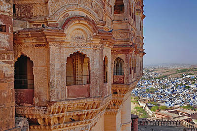 Mehrangarh Fort Towering Above Jodhpur Poster by Adam Jones