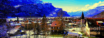 Meiringen Switzerland Alpine Village Poster