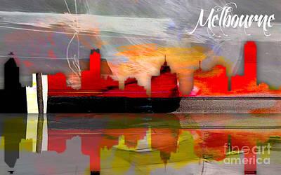 Melbourne Australia Skyline Watercolor Poster
