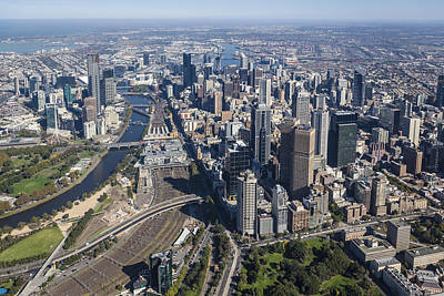 Melbourne From The South East Corner Poster by Brett Price