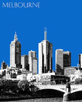 Melbourne Skyline 1 - Blue Poster by DB Artist