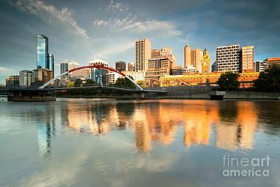 Melbourne Skyline At Sunrise Poster