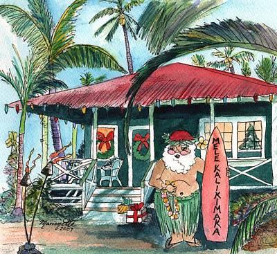 Mele Kalikimaka Hawaiian Santa Poster