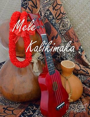 Mele Kalikimaka With Red Ribbon Lei Poster