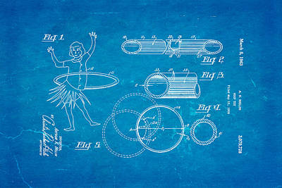 Melin Hula Hoop Patent Art 1963 Blueprint Poster by Ian Monk
