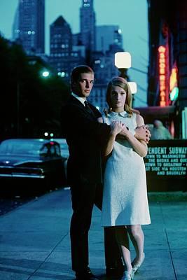 Melinda Moon And David Davis On A Sidewalk Poster by Sante Forlano