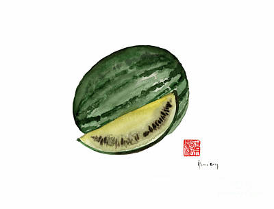 Melon Green Watermelon Treasures Kitchen Fruit Fruits Yellow Garden Tree Poster