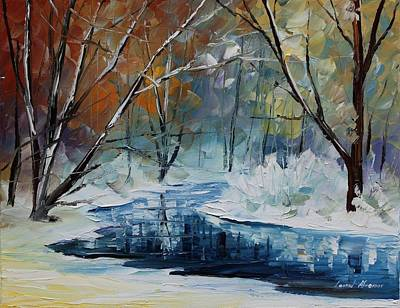 Lost In Winter - Palette Knife Oil Painting On Canvas By Leonid Afremov Poster by Leonid Afremov