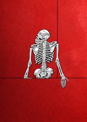 Memento Mori - Silver Human Skeleton On Red Canvas Poster by Serge Averbukh
