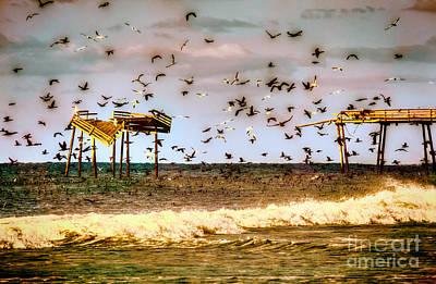 Memories Of Frisco Pier - Outer Banks II Poster by Dan Carmichael