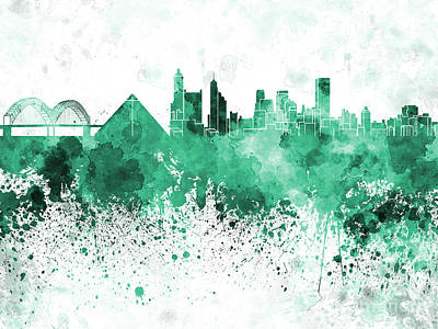 Memphis Skyline In Green  Watercolor On White Background Poster