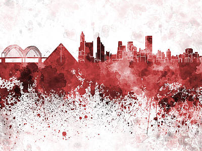 Memphis Skyline In Red Watercolor On White Background Poster
