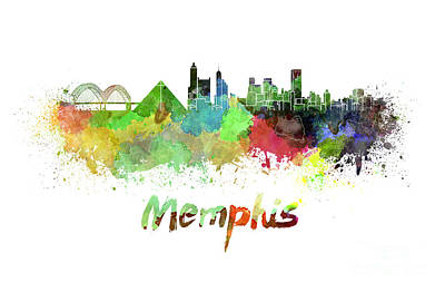 Memphis Skyline In Watercolor Poster by Pablo Romero