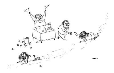 Men Crawl Through The Desert Poster