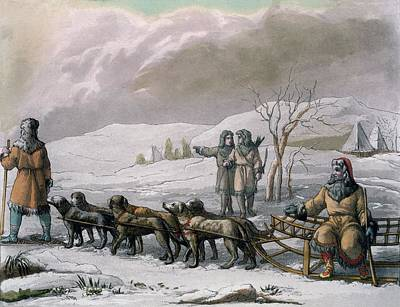 Men Of Kamchatska, With A Dog Sleigh Poster by Italian School