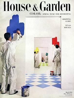 Men Painting Walls In Various Colors Poster by Herbert Matter