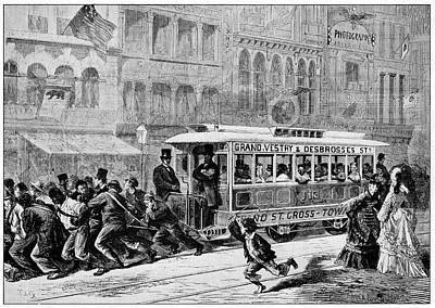 Men Pulling A Tram Poster by Cci Archives