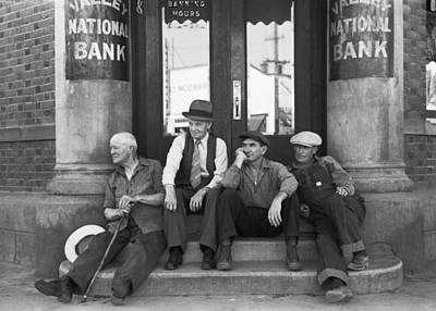 Men Sitting On Bank Steps Poster by Russell Lee