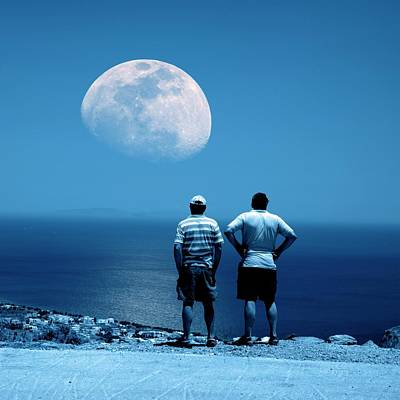 Men Watching The Moon Poster