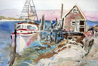 Poster featuring the painting Menemsha Harbor by Michael Helfen