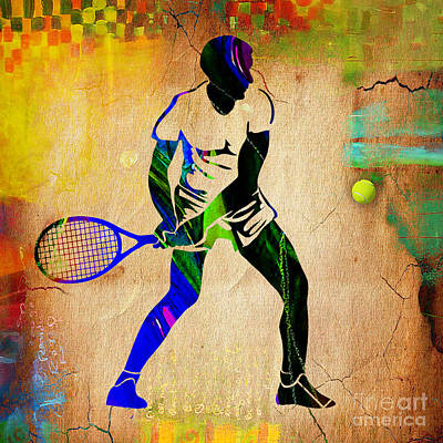 Mens Tennis Painting Poster