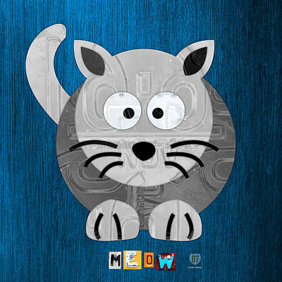 Meow The Cat License Plate Art Poster by Design Turnpike