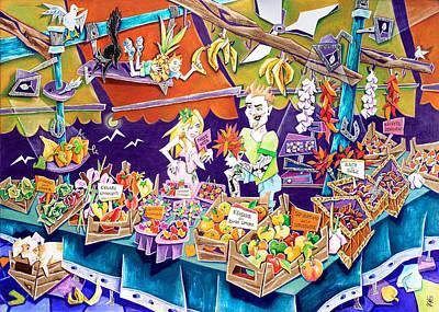 Mercanti Di Sapori - Mercato Di Rialto - Venice Fruit Market Poster by Arte Venezia