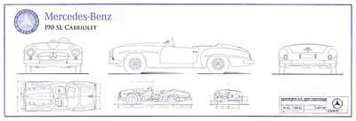 Mercedes 190sl Cabriolet Blueprint Poster