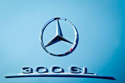 Mercedes 300 Sl Emblem -0190c Poster by Jill Reger