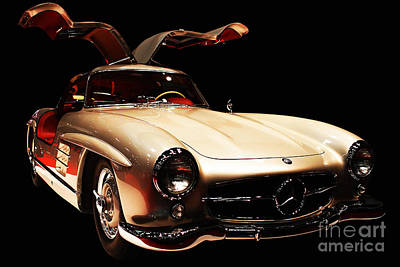 Mercedes 300sl Gullwing . Front Angle Black Bg Poster