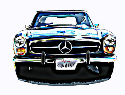 Mercedes Benz 280sl Roadster Poster by Samuel Sheats