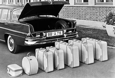 Mercedes-benz And Luggage Poster by Underwood Archives