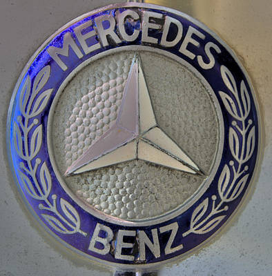 Mercedes Benz Badge Blue Poster