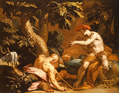 Mercury And Argus Oil On Canvas Poster by Abraham Bloemaert