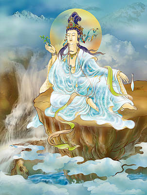 Poster featuring the photograph Merit King Kuan Yin by Lanjee Chee