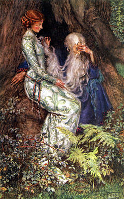 Merlin And Vivien Poster by Eleanor Fortescue Brickdale