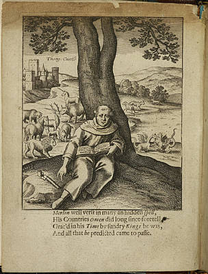 Merlin Sitting Under A Tree Poster by British Library