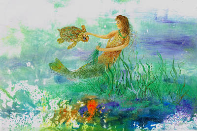 Mermaid And Baby Loggerhead Turtle Poster by Nancy Gorr