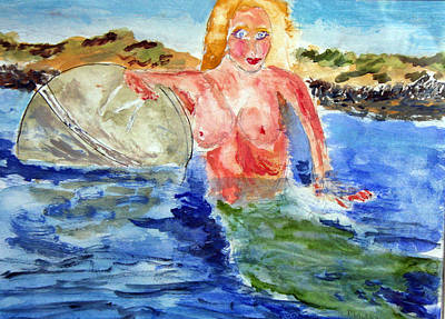 Poster featuring the painting Mermaid And The Buoy by Michael Helfen