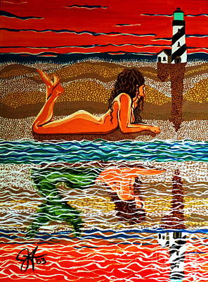 Poster featuring the painting Mermaid Day Dreaming  by Jackie Carpenter